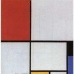 直線と純粋な色で絵を構築したピエト・モンドリアンの「赤、黒、青、黄のコンポジション」1928年